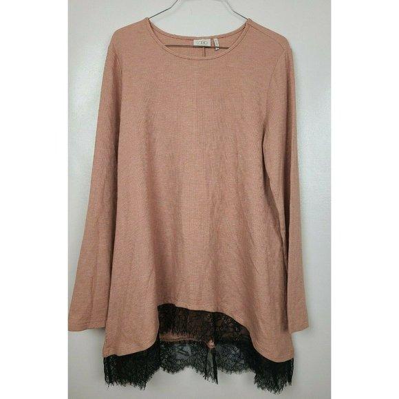 LOGO by Lori Goldstein Beige Long Sleeve Lace Hem Thermal Knit Tunic Top Size M
